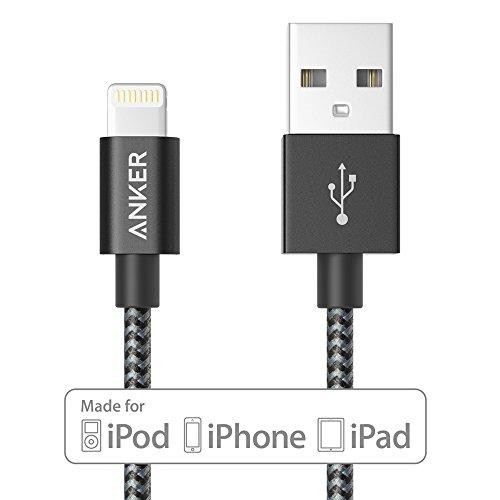 【Apple認証 (Made for iPhone取得)】 Anker 高耐久ナイロン ライトニングUSBケーブル iPhone / iPad / iPod用 絡み防止 アルミコンパクト端子 (スペースグレイ、0.9m)