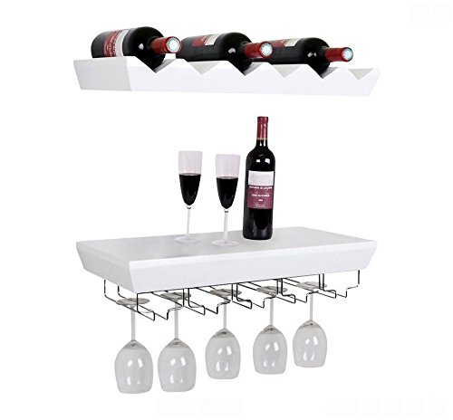 welland white wine rack floating wall shelf with glass. Black Bedroom Furniture Sets. Home Design Ideas