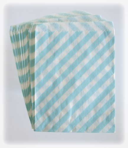 Blue Paper Bags, Candy Treat Bags, Kids Birthday Favor, Striped Goodie Bags, 25 Pack - Light Blue Stripe back-924510