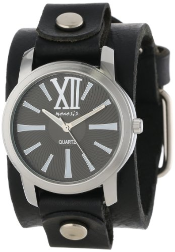 Nemesis Mujer GB065KW Exclusive Collection Roman Black Leather Cuff Reloj