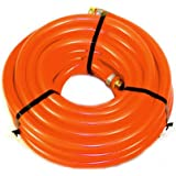 """Water Hose Continental (Formely Goodyear) ¾"""" x 100' ORANGE Pliovic Industrial 250psi with Brass Fittings - Heavy Duty - USA"""