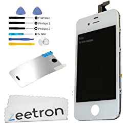 Zeetron Front Screen Digitizer LCD Assembly for iPhone 4 (Verizon/Sprint ONLY) - White + Tools