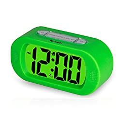Plumeet Digital Large LCD Easy Setting Travel Alarm Clock with Snooze Good Backlight of 3 AAA Batteries Powered (Green)