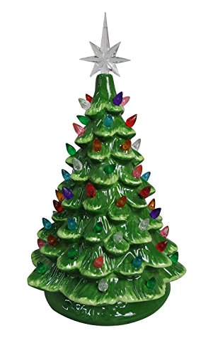 Tabletop Ceramic Lighted Green Christmas Tree