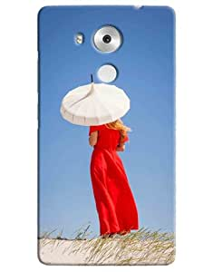 Omnam Girl Giving Back Pose With White Umbrella In Deserts Printed Designer Back Cover Case For Huawei Honor Mate 8
