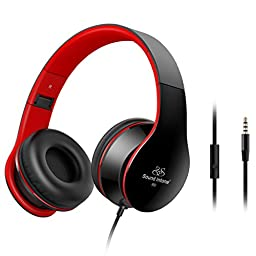 Sound Intone Lightweight Folding 3.5mm Stereo Over-ear Portable Stretch Headsets with Build-in Microphone