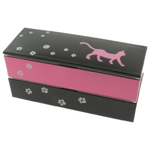 Kotobuki 2-Tiered Bento Box, Pink Fashion Cat