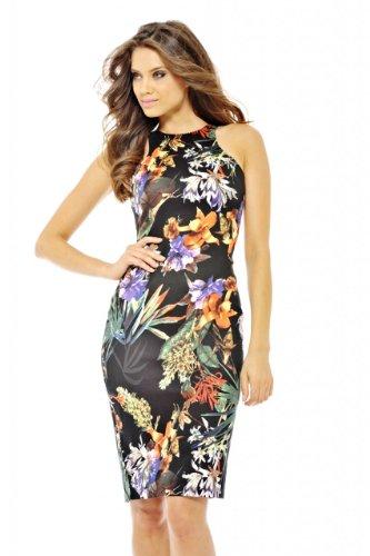 Ax Paris Women'S Tropical Floral Cut In Neck Midi Dress (Multicoloured, Size:6)