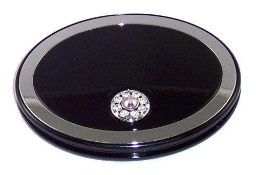 Danielle Oval Magnification Compact Mirror with Swarovski Crystals, 5x, Black