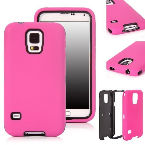Iberry Luxury Printed Hard Soft High Impact Hybrid Armor Defender Combo Case Cover For Samsung Galaxy S5 I9600 (Hot Pink With Black, Samsung Galaxy S5 Sv I9600)