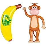 Giant 5 Foot Inflatable Monkey and 4 Foot Banana Set - 2 Giant Inflates