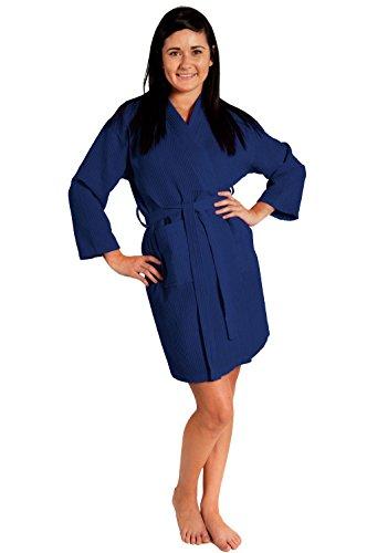 Women's Knee Length Waffle Weave Kimono Bath Robe (Navy, One Size)