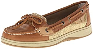 Sperry Top-Sider Women's Angelfish Boat Shoe, Linen/Gold, 7 M US