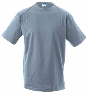 James & Nicholson Lot de 2 t-shirts Round Heavy pour homme Gris Gris XXX-Large