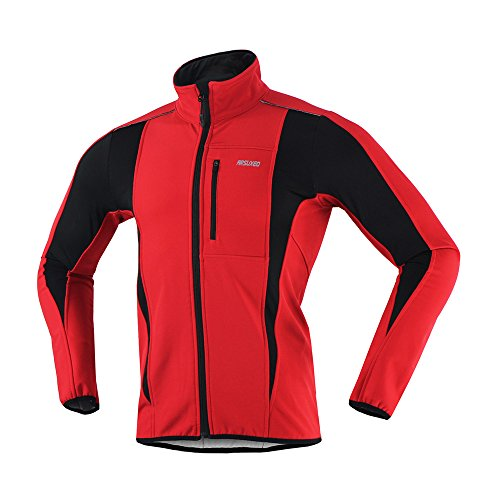 ARSUXEO Winter Warm UP Thermal Softshell Cycling Jacket Windproof Waterproof Bicycle MTB Mountain Bike Clothes 15-K Red Size Large (Thermal Bicycle Jacket compare prices)