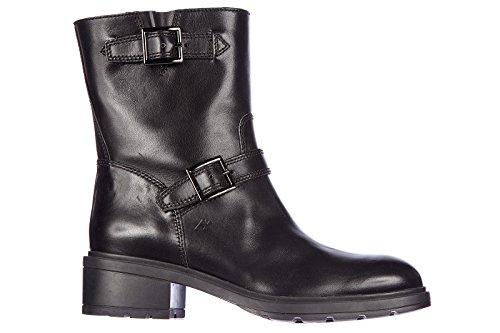 Hogan stivaletti stivali donna in pelle h083 tronchetto basso doppia fibbia nero EU 38 HXW0830L94208NB999