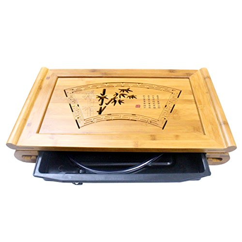 Tea Talent Reservoir & Drainage Type Bamboo Tea Tray - Japanese / Chinese Gongfu Tea Table Serving Tray Box for Kungfu Tea Set 19 x 11.4 x 2.7 Inch, Natural Color Engagement Fine China Japan