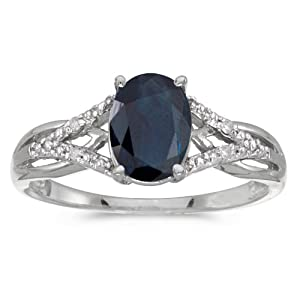 14k White Gold Oval Sapphire And Diamond Ring (Size 8)