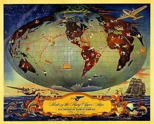 pan-am-1941-poster-viaggio-routes-of-the-flying-clipper-ships-carta-fotografica-super-a1