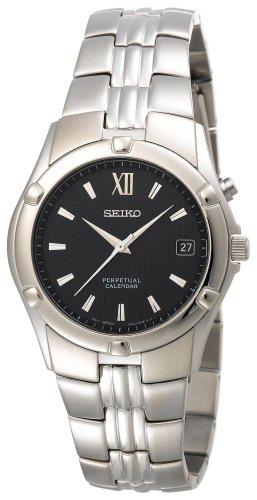 Seiko Men's SNQ067 Perpetual Calendar Silver-Tone Watch