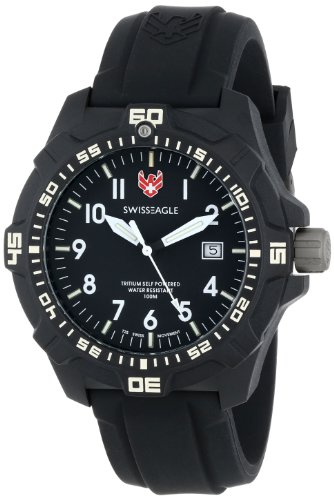 Swiss Eagle Ever Brite Men's Quartz Watch with Black Dial Analogue Display and Black Silicone Strap SE 9042 01