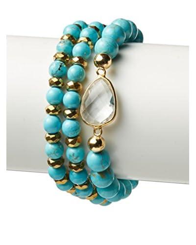 Devoted Turquoise and Gold Hematite Bracelet Set