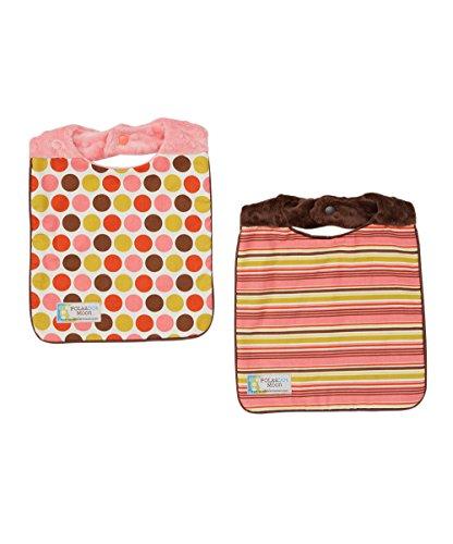 Baby Girl Bib Set of 2 - Summer Dots & Stripes on Minky