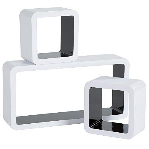 TecTake Set di mensole muro mensola libreria libri cubo pensile scaffale CD bianco nero