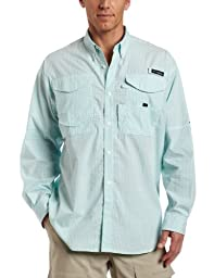 Columbia Men\'s Super Bonehead Classic Long Sleeve Fishing Shirt (Gulf Stream Gingham, Large)