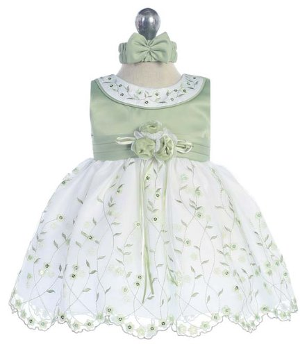 Size 6M - Wedding Sage Dress For Baby And Toddler Girls (3M To 4T)