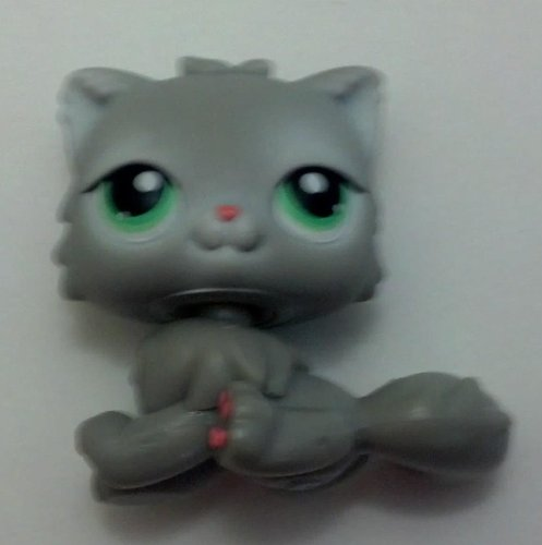 Littlest Pet Shop # 82 Gray Persian Kitten Sitting Replacement Figure ( Loose ) - 1