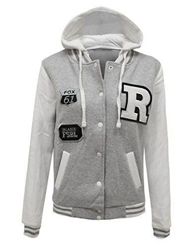 Fashion 4 Less Nuovo Donna R Fox 61 Baseball College giacca con cappuccio. Regno Unito 8 - 14 Grey 44-46