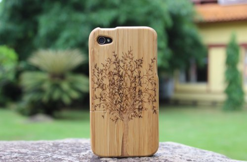 eimolife Natural Handmade hard wood Bamboo Case Cover for iphone 4 and 4S, tree (Iphone 4 Wood Cover compare prices)