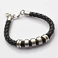 Black Platted Braided Leather Mens Bracelet 8mm With Stainless Steel Clasp By Kurtzy by Kurtzy®