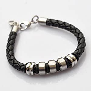 Black Platted Braided Leather Mens Bracelet 8mm With Stainless