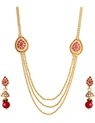 Abhijewels Gold Plated Red Stone Studded Traditional Necklace With Earrings For Women