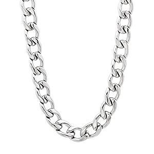 6mm Solid Stainless Steel Cuban Link Curb Chain Necklace, 20