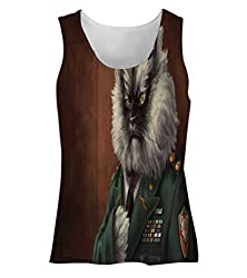 Snoogg Colonel Meow Womens Tunic Casual Beach Fitness Vests Tank Tops Sleeveless T shirts