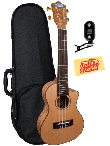 Lanikai Lqa-Cca Quilted Ash Cutaway Acoustic-Electric Concert Ukulele Bundle With Polyfoam Case, Tuner, And Polishing Cloth