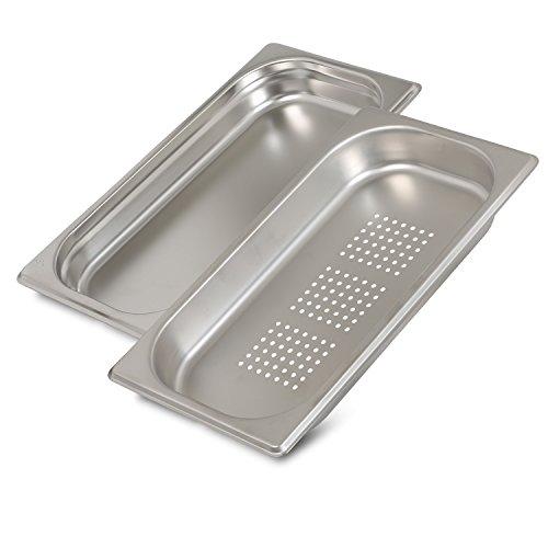 Greyfish 2 Stück GN-Behälter SET :: 1x gelocht / 1x ungelocht :: für Gaggenau / Miele / Siemens Dampfgarer (Edelstahl / Spülmaschine geeignet, Gastronorm 1/3, B 32,5 x T 17,6 x H 4,0 cm)