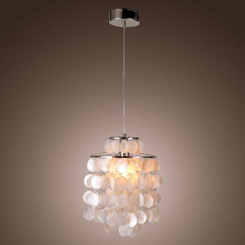 Lightinthebox® Mini White Shell Pendant Chandelier,Mini Style Modern Ceiling Light Fixture For Bedroom, Living Room (Chrome Finish)