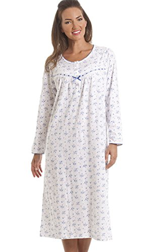 Camille Womens Ladies Classic Blue Floral Long Sleeve Cotton Nightdress