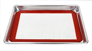 New Star 38439 Commercial 18-Gauge Half Size Aluminum Sheet Pan and Silicone Baking Mat Set, 13 by 18-Inch