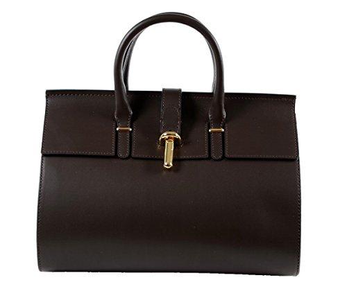 Designer-italienische-Tasche-Leder-Handbag-Echtledertasche-Handtasche-Henkeltasche-Shopper-Kellystyle-Glattleder-Italy-Tote-Bag-Tube-Fass-Clutch-Braun-Schoko-Schokobraun-Schokolade-Dunkelbraun