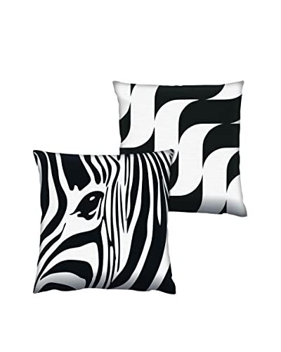 Gravel Set of 2 Zebra & Wave Print Throw Pillows, Black/White