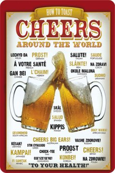 Targa in metallo 20 x 30 cm Cheers Around the World 300/273