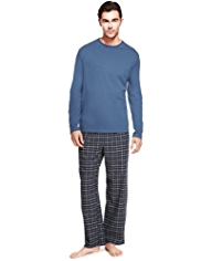 Crew Neck Brushed Cotton Checked Pyjamas