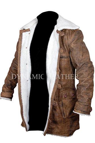Batman Dark Knight Rises vera pelle, effetto anticato, colore: marrone scuro (Giacca/cappotto Distressed Brown Large
