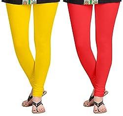 Aannie Women's Cotton Slim Fit Leggings Combo Pack of 2(XX-Large,Mango,Carrot Color)