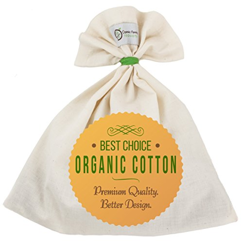 Organic Cotton Nut Milk Bag – Super Smooth Almond Milk Maker – No Seam Bottom, Drawstring Free – Reusable Food Strainer for Yogurt, Cheese Cloth, Juice, Tea, Coffee & More – Natural and Eco-Friendly